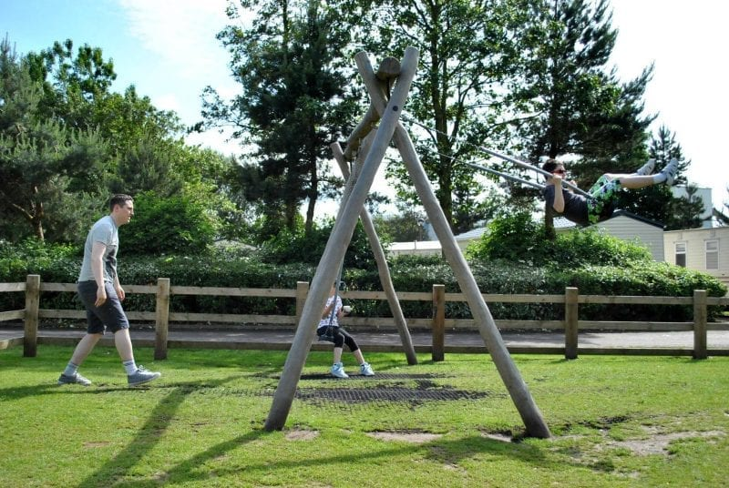 Kids on swings in Blackpool