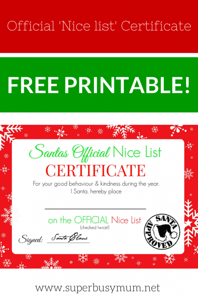 Christmas Nice List Certificate Free Printable Super Busy Mum
