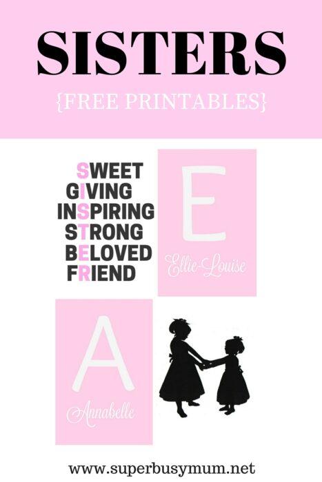 Sisters Free printables