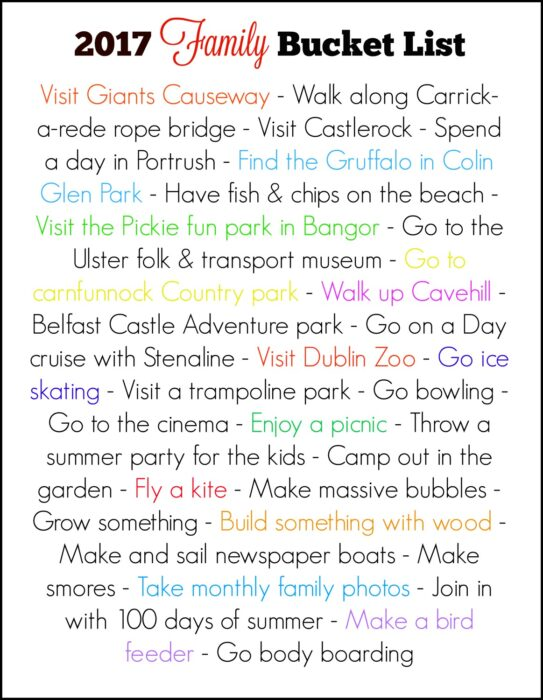 2017 Family bucket list
