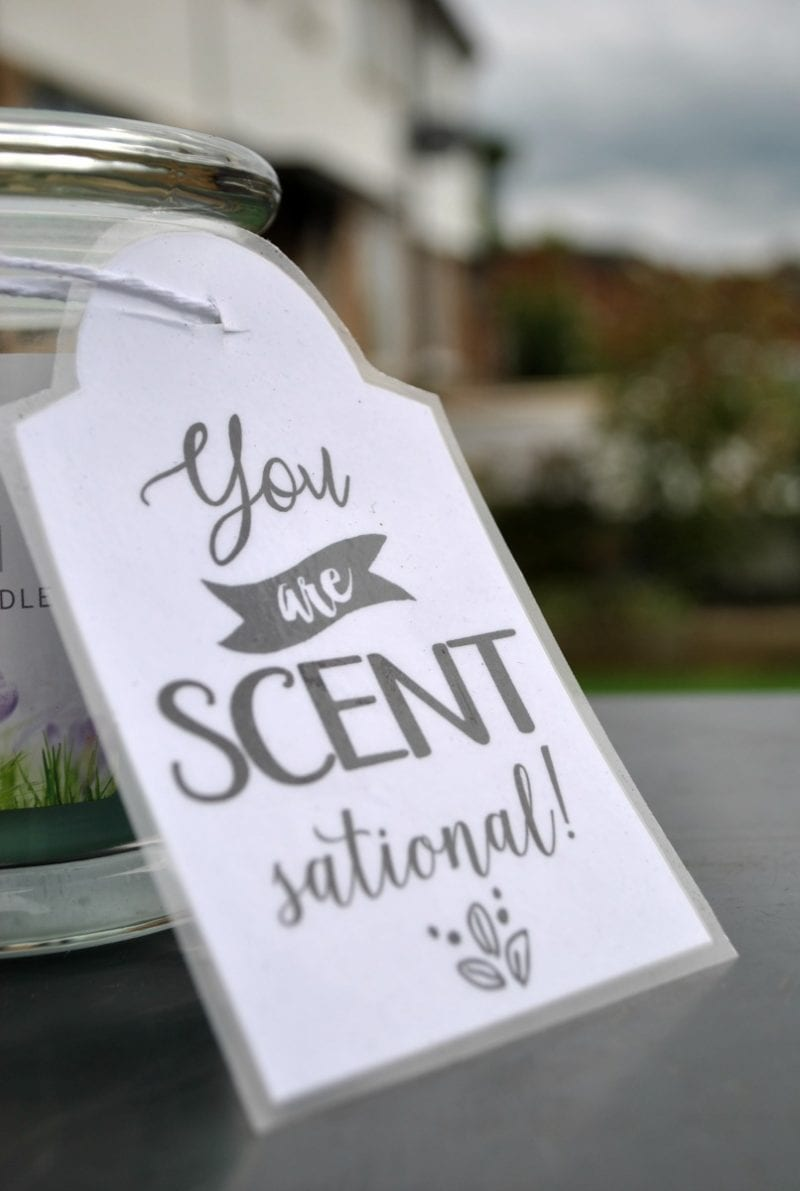 "Gift for Teacher idea - a sweet ""You are Scent-sational"" candle gift."