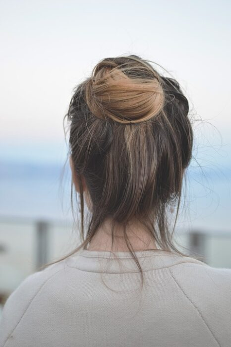 Messy bun hair style for busy Mums