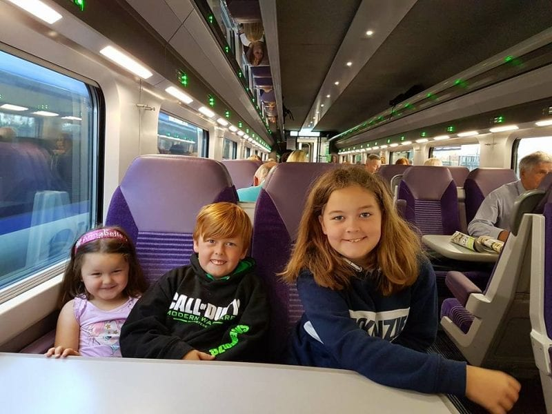 Kids on train to Dublin