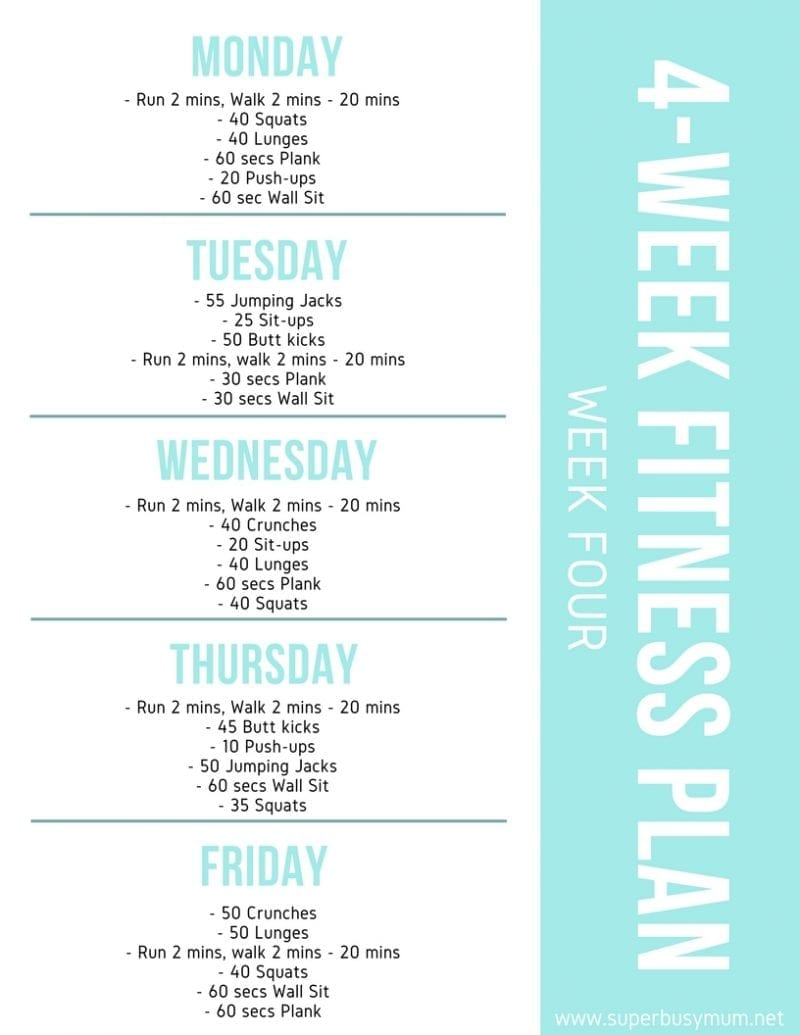 Week four of 4-week fitness plan