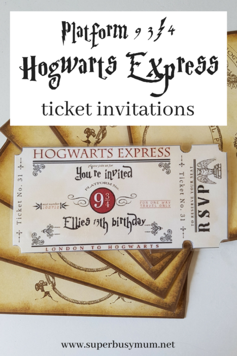 Hogwarts express ticket invitations