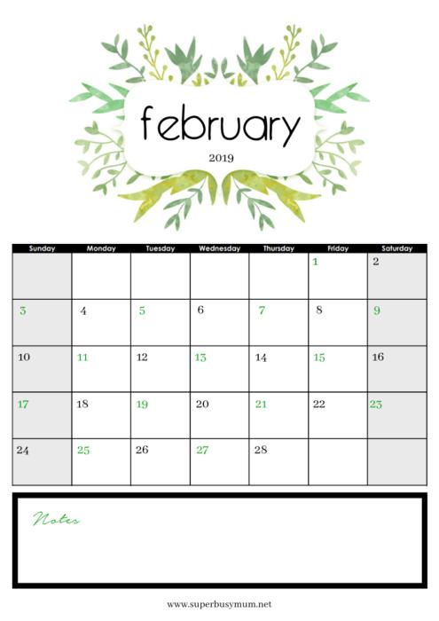 February Calendar Free Template