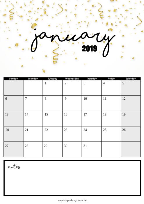 January Calendar Template Free Printable Super Busy Mum