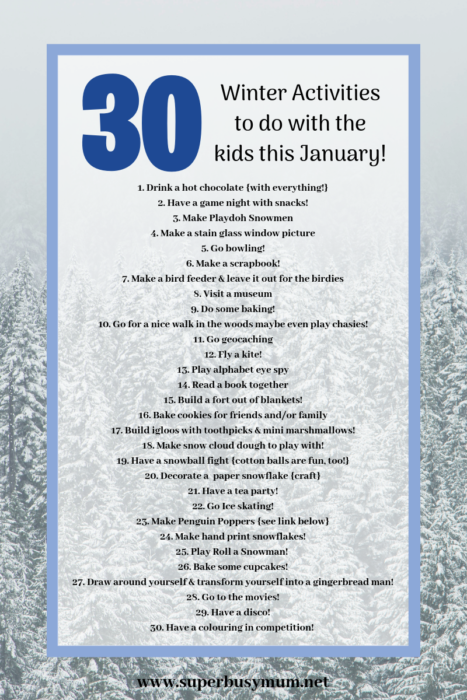 Winter activities for Kids free printable