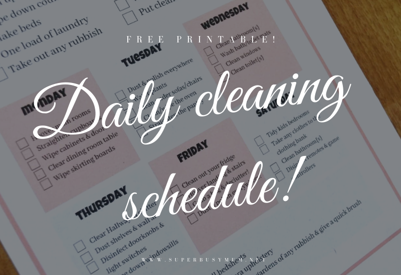 My Daily Cleaning schedule | Free printable